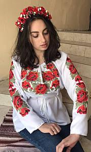 """Сорочка - туника женская белая с вышивкой, цветы , """" Маки красные"""", домотканная ткань"""