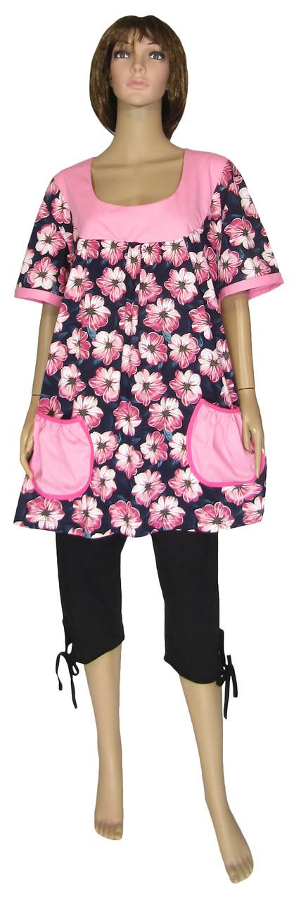 Костюм - комплект женский летний 03476К Valentina Batal Розовые Цветы, коттон, туника и капри, р.р.62-64