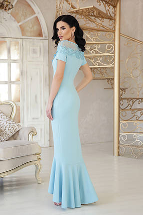 Женское платье в пол к низу клеш с разрезом короткий рукав с кружевами голубого цвета, фото 2