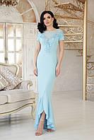 Женское платье в пол к низу клеш с разрезом короткий рукав с кружевами голубого цвета