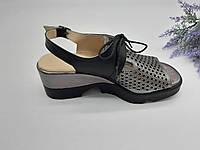 Босоножки на платформе Pegasus серебро/черный 8076 кожа 36(р)
