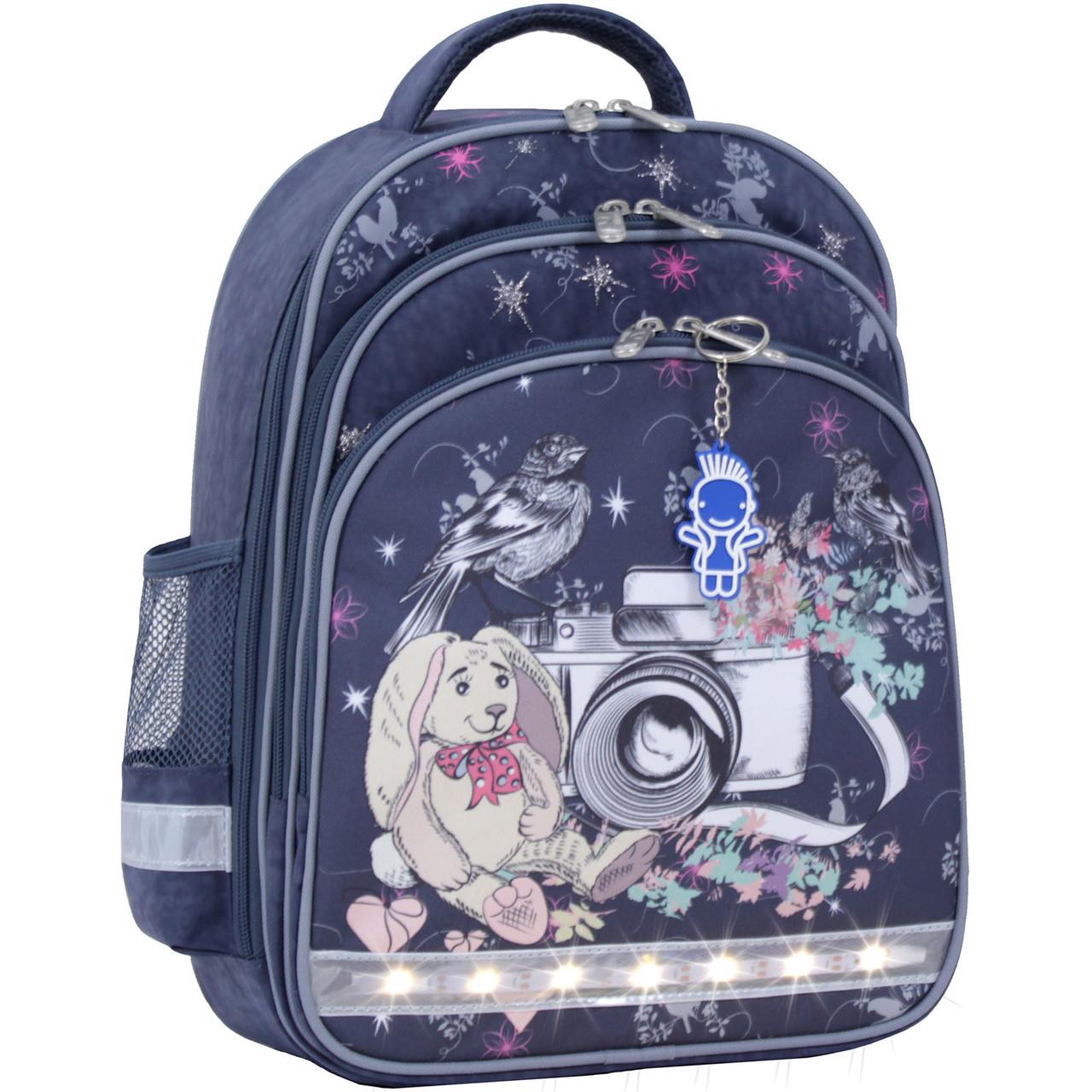 c63658b56a36 Рюкзак школьный ортопедический Bagland Mouse для девочки заяц фотоаппарат  серый