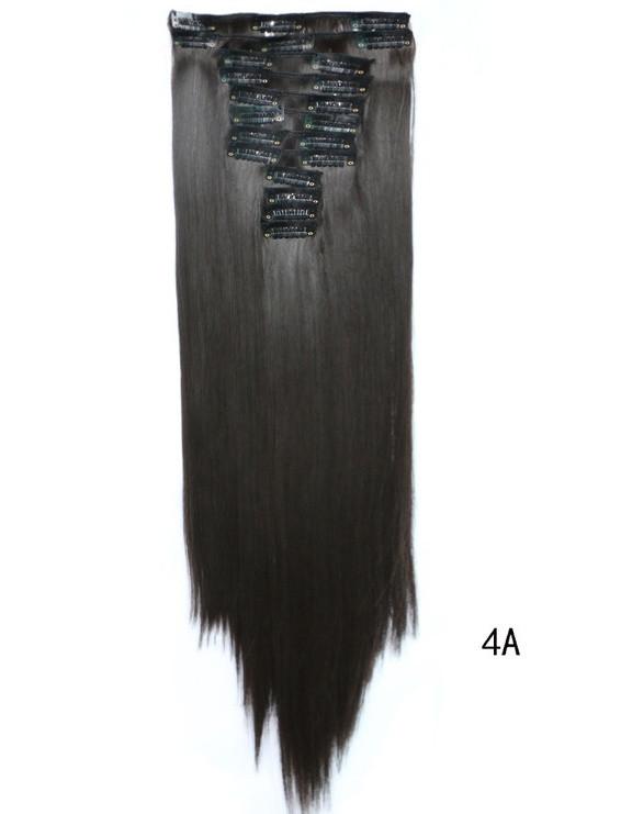 Накладні волосся тресс на 12 пасм рівні 60 см. колір гіркий шоколад