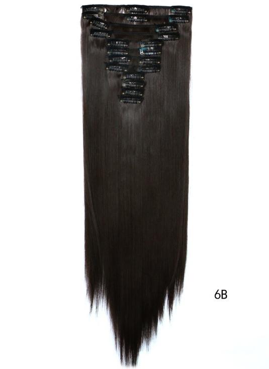 Накладні волосся тресс на 12 пасм рівні 60 см. колір каштаново-коричневий