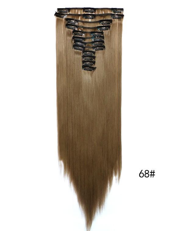 Накладные волосы трессы на 12 прядей ровные 60 см.цвет русый