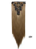 Накладные волосы трессы на 12 прядей ровные 60 см.цвет русый, фото 1