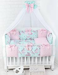 Комплект постельного белья Asik Единороги с облаками мятно-розового цвета 7 предметов (7-324)