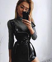"""Облегающее кожаное платье-сарафан на лямках """"Саманта"""" с поясом, фото 3"""