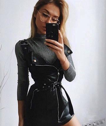 """Облегающее кожаное платье-сарафан на лямках """"Саманта"""" с поясом, фото 2"""
