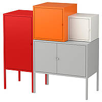 IKEA LIXHULT Шкаф, серо-белый, оранжевый/красный  (891.616.31), фото 1