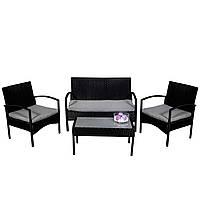 Комплект садовой мебели плетеной из ротанга AGOSTAN Черный цвет