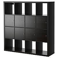 IKEA KALLAX Стеллаж с 8 вставками, черно-коричневый  (390.174.72), фото 1
