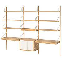 IKEA SVALNAS Пристенный стол, бамбук, белый  (191.844.62), фото 1
