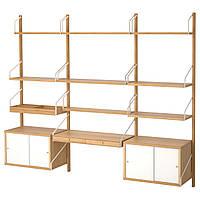 IKEA SVALNAS Пристенный стол, бамбук, белый  (091.844.53), фото 1
