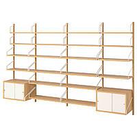 IKEA SVALNAS Настенный стеллаж, бамбук, белый  (591.844.41), фото 1