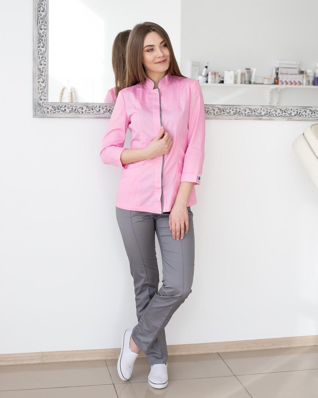 Медичний жіночий костюм Сакура рожевий-сірий