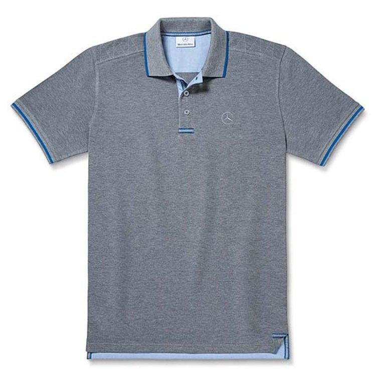 Чоловіча футболка поло Mercedes-Benz Men's Polo Shirt, Grey / Royal Blue, (B66956677)