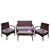 Комплект садовой мебели плетеной из ротанга AGOSTAN Коричневый цвет