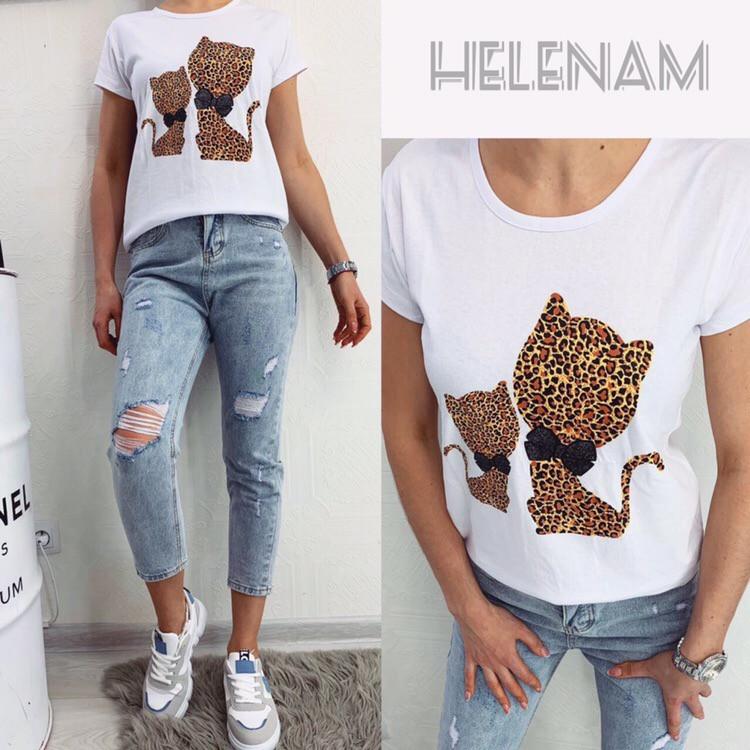 Женская модная футболка  ОЕ087