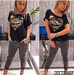 Женский стильный костюм с карманом из пайетки (в расцветках), фото 5