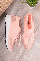 Женские кроссовки розовые со стразами текстиль , фото 1