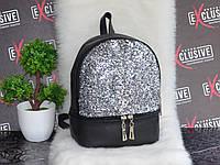 Женский черный городской рюкзак с блестками, фото 1