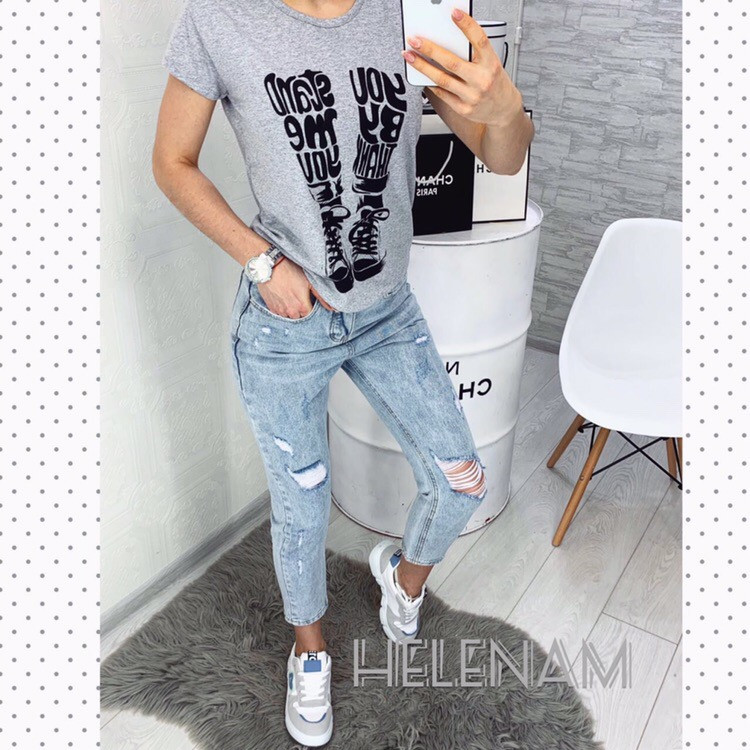 Женская модная футболка  ОЕ085