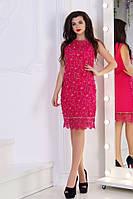 Нарядное силуэтное женское платье кружевное с декором из камней Сваровски и ажурной отделкой S, M, L