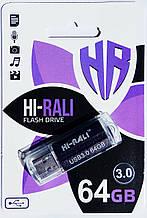 Флешка USB 3.0, Hi-Rali 64GB Corsair series, черная