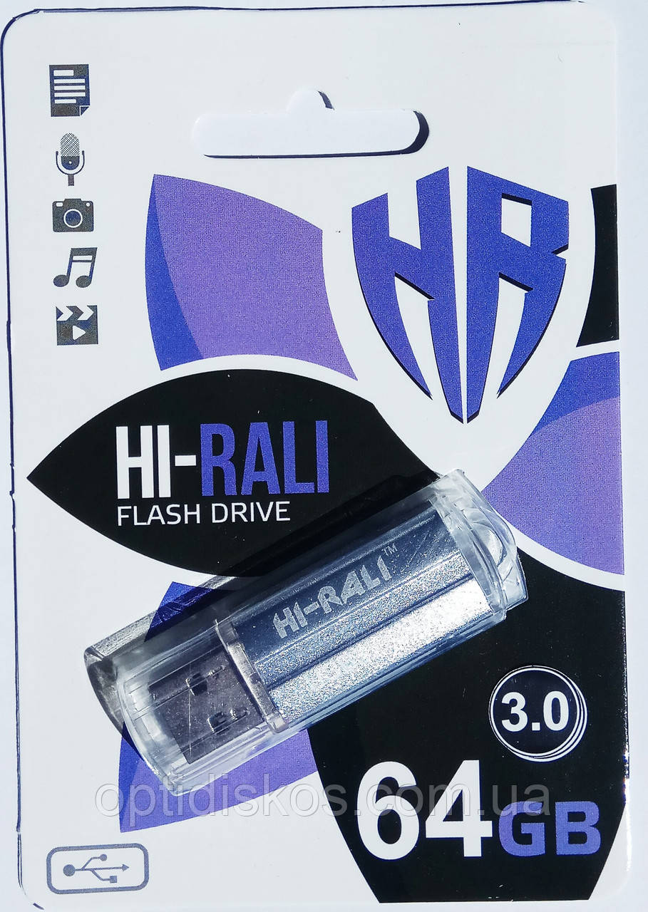 Флешка USB 3.0, Hi-Rali 64GB Corsair series, серебристая