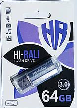 Флешка USB 3.0, Hi-Rali 64GB Corsair series, серебристая