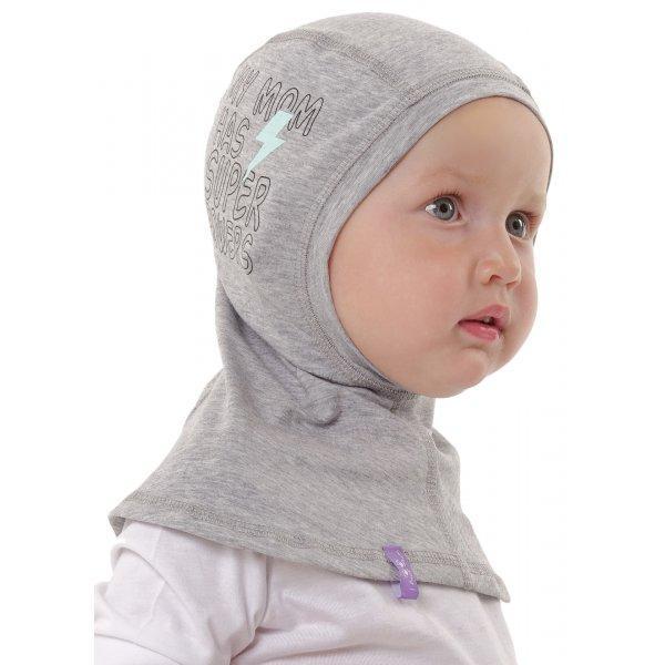 """Шапка - шлем, поддева """"I love mum"""" серый меланж принт, трикотажная 46-52см"""