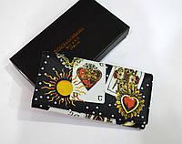 Женский кошелек люкс качества из дорогой сафьяновой итальянской кожи черного цвета dolce & gabbana