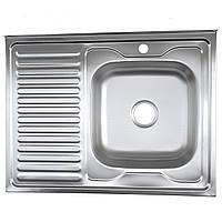 Кухонная мойка 80*60 Platinum сатин накладная 0,8 мм глубина чаши 16 см
