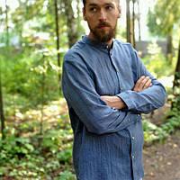 Мужская рубашка из джинсового льна , либо любой другой цвет, фото 1