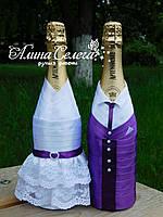 Прикраси на весільні пляшки шампанського, пара