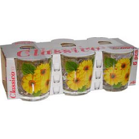 """Набор стаканов 8224 низкий Классик -6шт-250гр,Цветы """"HL"""" быт"""