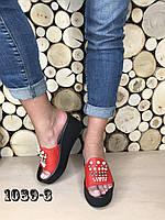 13a80ffc8 Красные Cабо-шлепки с жемчугом на высокой платформе натуральная кожа
