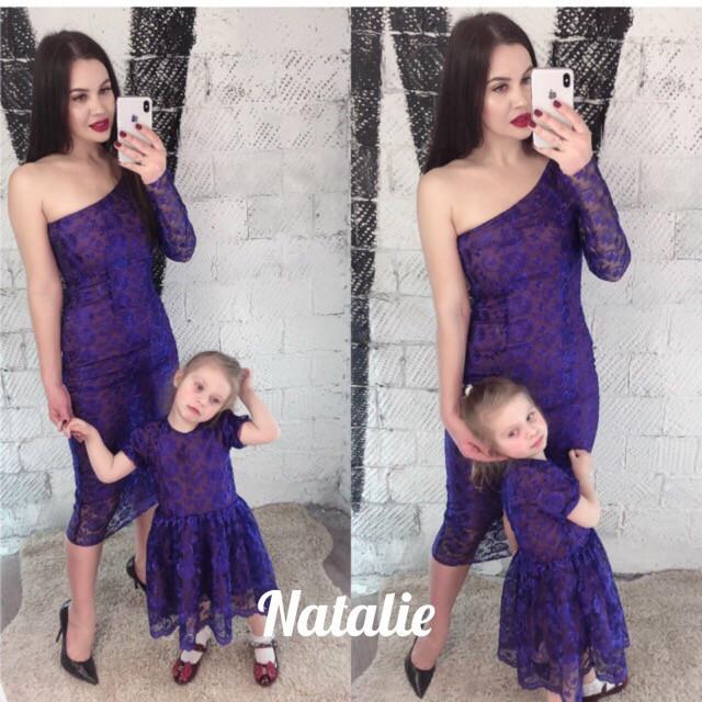 Стильное кружевное платье мама/дочь, подклад шелк армани.