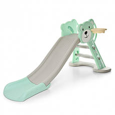 Горка детская пластиковая Bambi HF-H008-4, зелено-бежевая