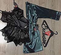 Изумрудный халат + черная пижама-шелковый комплект тройка.
