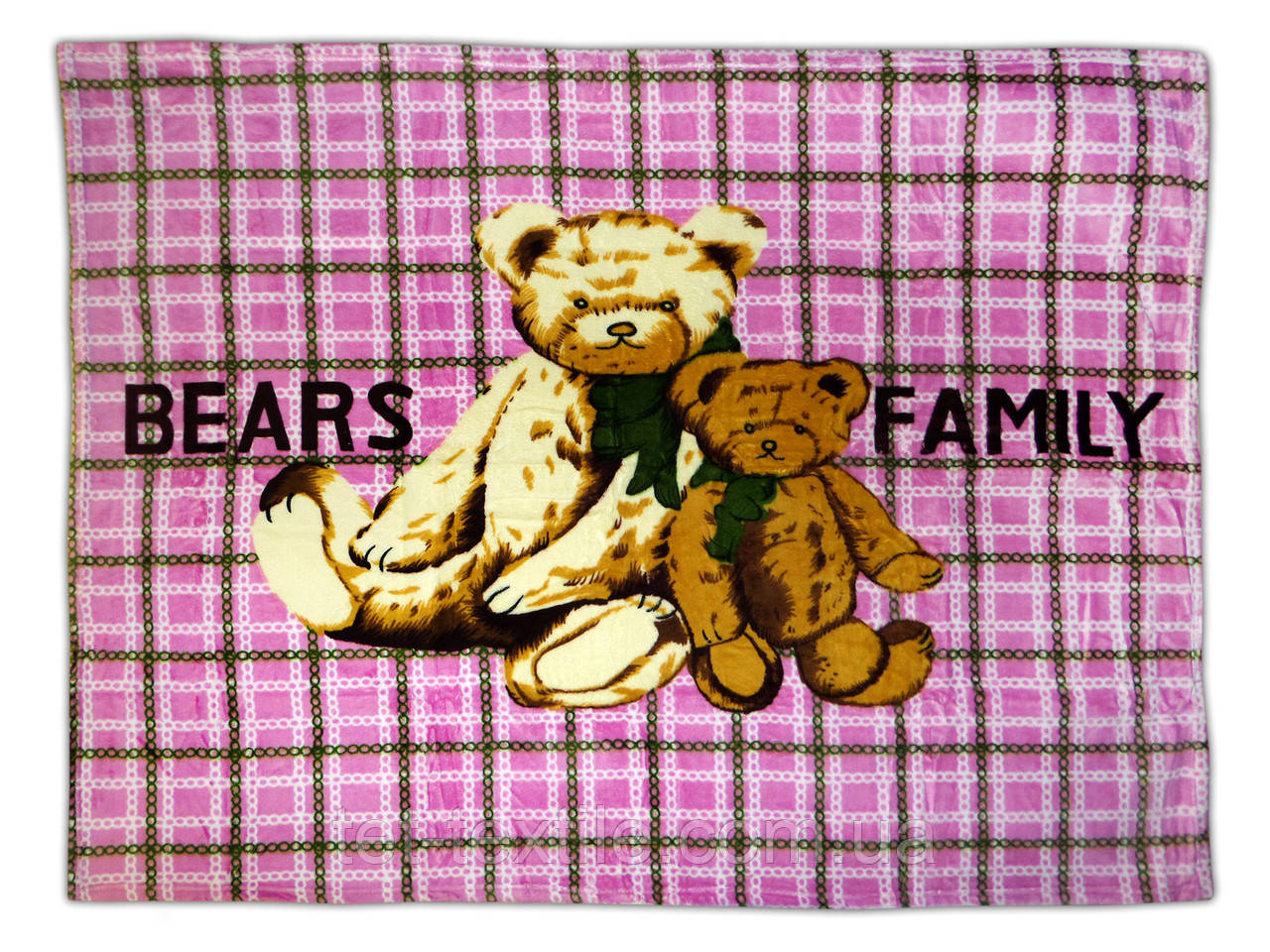 "Плед детский из микрофибры ""Bears family"" розовый (110х140)"