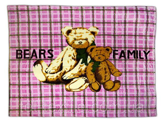 "Плед детский из микрофибры ""Bears family"" розовый (110х140), фото 2"