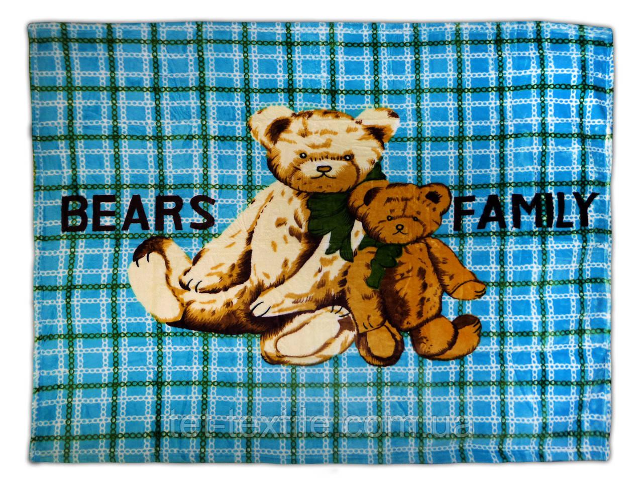 "Плед детский из микрофибры ""Bears family"" голубой (110х140)"