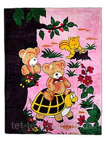"""Плед детский из микрофибры """"Зверята в лесу"""" розовый (110х140)"""