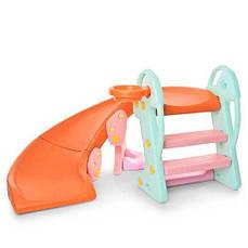 Горка детская пластиковая Bambi QX-1802, разноцветная
