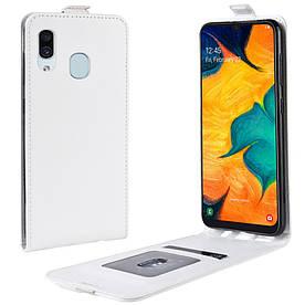 Чехол книжка для Samsung Galaxy A20 A205FZ вертикальный флип, Гладкая кожа, белый