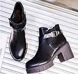 Черные ботинки на тракторной подошве, фото 2