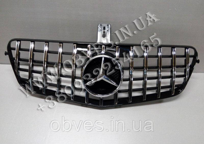 Решетка радиатора Mercedes E-class W212 2009-2013 стиль Panamericana Black/Chrome