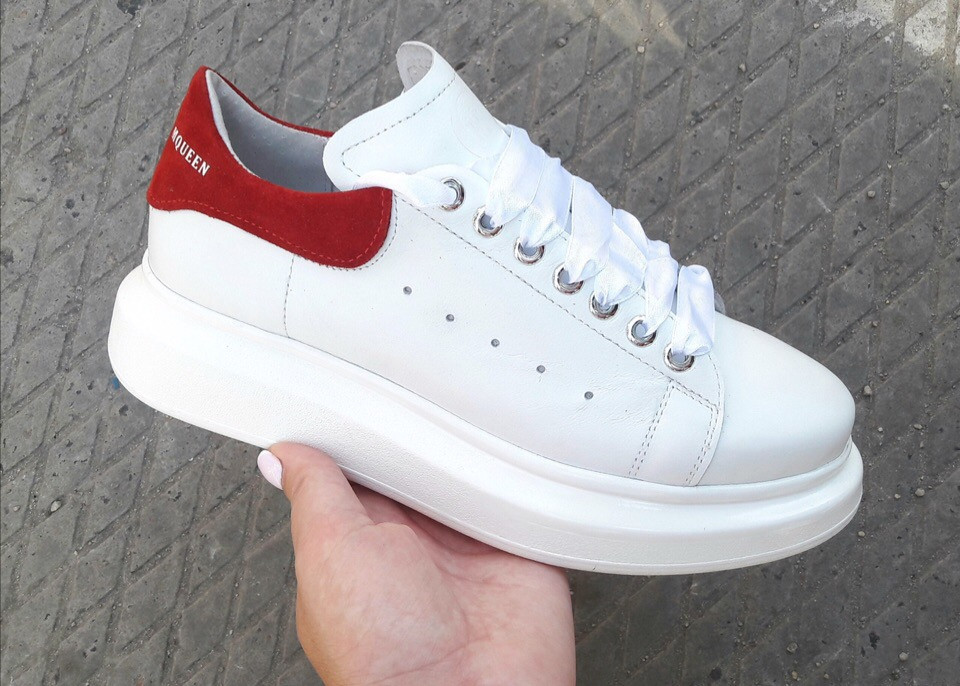 fe5a1e0e346d6b Женские Белые кеды на платформе Alexander McQueen красная пятка натуральная  кожа -